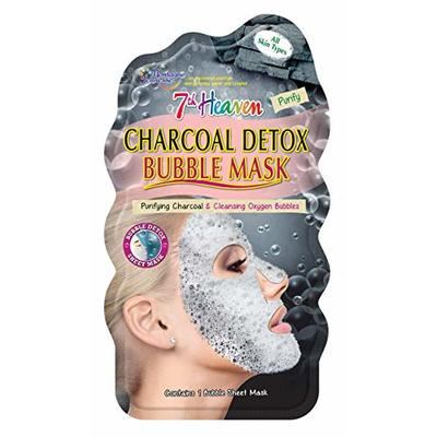 7th Heaven Charcoal Detox Bubble Sheet Face Mask with Purifying Charcoal and Cleansing Oxygen Bubbles for Quick Pore Purification – Ideal for All Skin Types