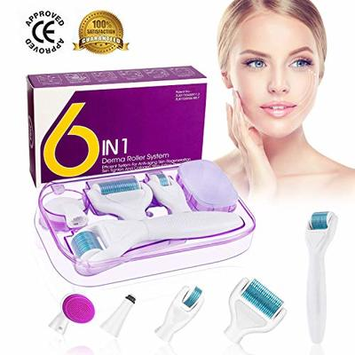 Derma Roller, Winpok 6 IN 1 Dermaroller Kit Titanium Microneedling Dermaroller For Face And Body 0.25mm 12/350/700/1200 Cosmetic Needing Instrument Face Roller With Storage Case (blue)