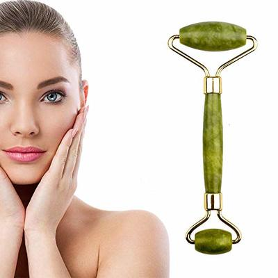 Jade Roller Massage, Facial Firming Skin Relax Beauty Tool, 100% Natural Anti Aging Facial Roller Massager for Removing Facial & Neck Wrinkles (Green)