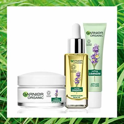 Garnier Organic Lavandin Set: Anti-Age Day Cream, Smooth & Glow Facial Oil and Anti-Age Eye Cream for Healthy Glowing Skin – Suitable for Dry & Sensitive Skin