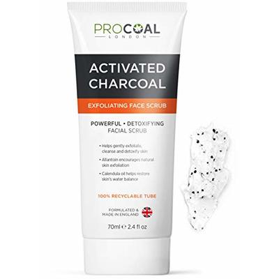 Face Scrub, Premium Exfoliating Charcoal Face Scrub 70ml by PROCOAL – Instantly Reveals Skin's Natural Radiance, Exfoliating Scrub & Charcoal Face Wash Combined For Men & Women – Made in UK