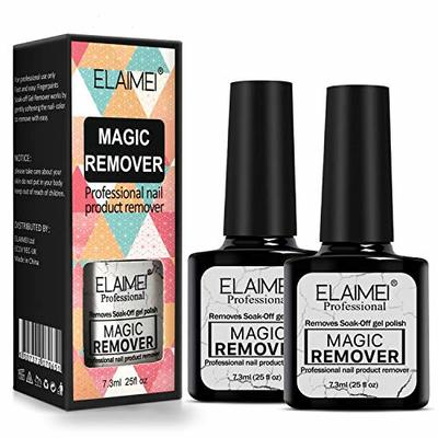 2 Pcs Magic Nail Polish Remover, Professional Removes Soak-Off Gel Nail Polish In 3-5 Minutes, Easily & Quickly, Don't Hurt Your Nails-15ml