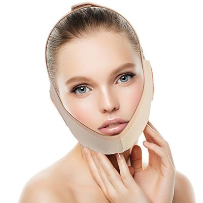 Facial Slimming Mask, Neck Support Lift V Face Line Bandages Facial Double Chin Care Weight Loss Face Belts(S)