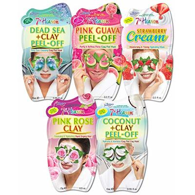 7th Heaven Moisturising Face Mask Pack with Dead Sea Clay, Pink Guava, Strawberry Cream, Pink Rose Clay and Coconut Clay for All Skin Types
