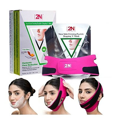 Face Firming Slimming Cheek Mask Chin Lift Up Mask Sheet with Bandage Belt for Tightening Face Skin and Making V-line Chin and Whitening + Moisturizing (7PCS+Bandage)