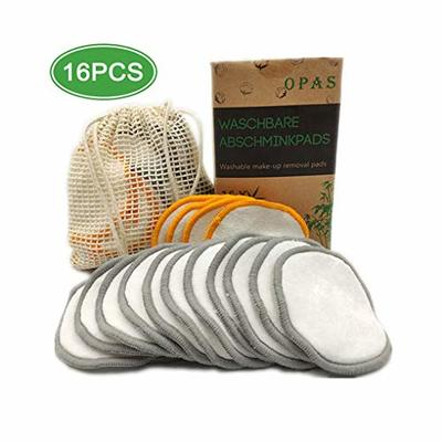 Reusable Make up Remover Pads 16 Packs, For All Skin Types, Washable Bamboo Cotton Pad with Laundry Bag (Golden and Silver)