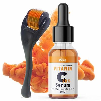 SunPrive Vitamin C Serum 20% with Hyaluronic Acid – Powerful Anti Aging & Anti Wrinkle Solution For Face – Also included Micro Derma Roller 0.5 MM – Made in UK