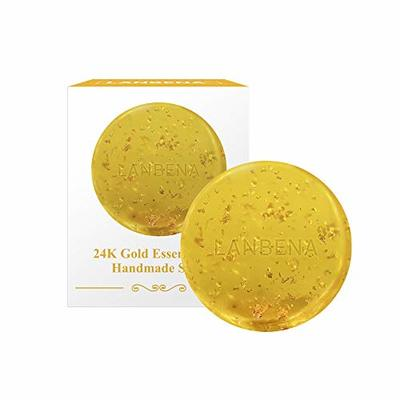 24K Gold Handmade Soap, OCHILIMA Essential Oil Soap Anti-Aging Seaweed Deep Cleansing, Oil Control, Removal Pimple, Pores and Acne, Moisturizing Nourishing Whitening Anti-Wrinkle
