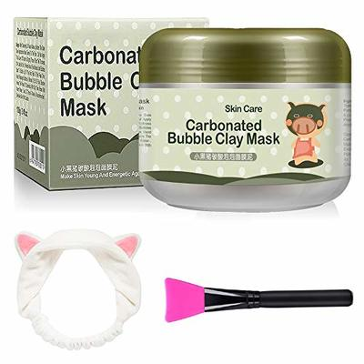 Carbonated Bubble Clay Mask – OCHILIMA Bubbles Mud Mask with Headband & Brush for Face Deep Cleansing Reduce Pores Purifying Face Mask for All Skin Types – 3.52 oz