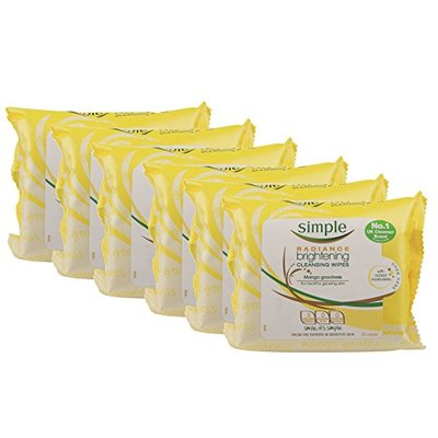 Simple Kind to Skin Plus Radiance Brightening Cleansing Wipes – Pack of 6, Total 150