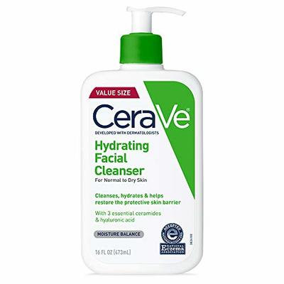 CeraVe Hydrating Facial Cleanser 16 oz for Daily Face Washing, Dry to Normal Skin (16)