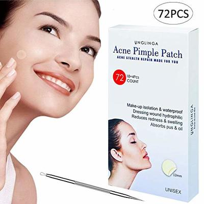 Acne Pimple Master Patch – 72Count Hydrocolloid Bandages Acne Spot Treatment Absorbing Zit Cover Healing Dots by UNGLINGA, Drug-free Non-drying, ?12mm