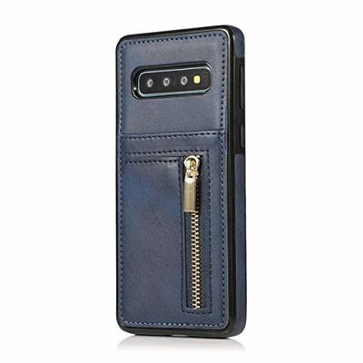 Oihxse Compatible with Samsung Galaxy S9 Leather Wallet Case Cover with [Zipper] [ID Credit Card Slots Holder] [Cash Pocket] Skin Shell, Ultra Slim Shockproof Protective TPU Bumper-Navy Blue