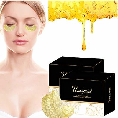 Undomiel Collagen Moisturized Anti Aging Eye Mask with Wrinkle Care Properties Treatment for Dark Circles and Puffiness(2 boxes 30 pairs) (Honey Deep Sea)