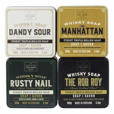 Scottish Fine Soaps Complete Whisky Cocktail Soaps in a Tin Collection 4 x 100g Soaps