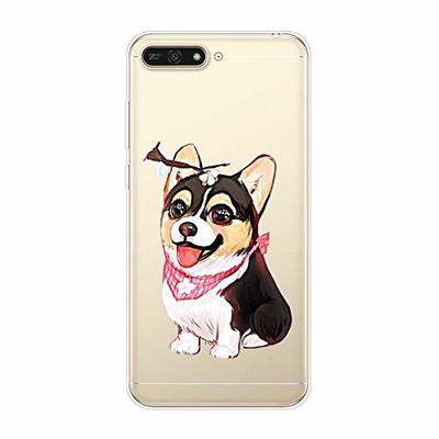 Uposao Compatible with Huawei Y6 2018 Case Crystal Clear Ultra Slim Thin Soft TPU Gel Protective Anti-Scratch Transparent Cover with Flower Animal Printed Back Cover,Cute Dog