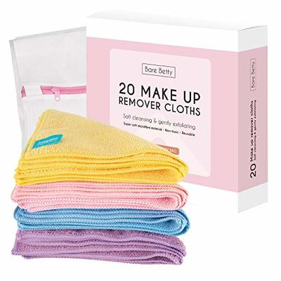 20 x Microfibre Makeup Remover Wipes with Laundry Bag by Bare Betty | Reusable Soft Facial Cloths for Beauty Routine | Great Make Up Removing Towel or Cleansing Cloth