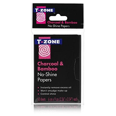 T ZONE CHARCOAL & BAMBOO NO SHINE PAPERS 50 SHEETS- removes excess oil