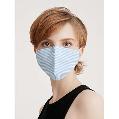 Paisie Unisex Reusable Washable Breathable Non-Surgical Cotton Face Mask/Face Cover, with Filter Option, Adjustable Nose Strip and Ear Loops (Sky Blue)