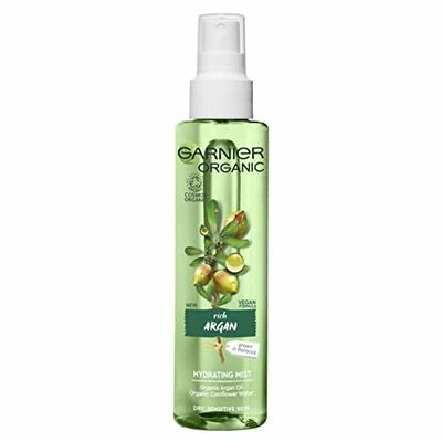 Garnier Organic Argan Hydrating Facial Spray Mist for Dry and Sensitive Skin, Hydrating and Refreshing Face Mist 150 ml