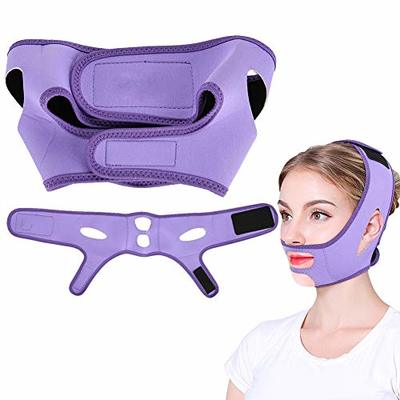 Facial Slimming Mask, Tightens the Skin of the Face of Lifting Remove the Chin Bandage Double Care Facial Beauty of Facial Care of Beauty Loss purple