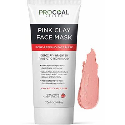 Pink Clay Mask, Australian Kakadu Pore Refining & Brightening Face Clay Mask 70ml by PROCOAL – Instantly Refines Pores & Boosts Skin's Radiance, Ideal For Men & Women, Cruelty-Free – Made in UK