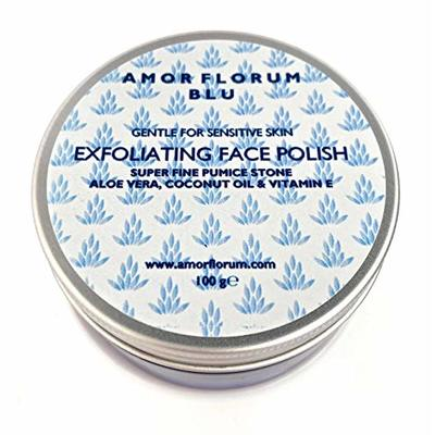 EXFOLIATING FACE Polish – with Pumice, Aloe Vera, Vitamin E & Coconut Oil – 100g by AMOR FLORUM BLU. Gently Exfoliates Dead Skin Cells, Unblock Pores, Brighten The Complexion on Your Face and Neck.