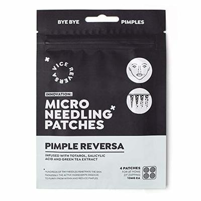 VICEREVERSA Microneedle Pimple Patches | Prevent & Reduce Spots Zits Blemishes | Salicylic Acid | Totarol | Green Tea Extract | Advanced Microneedle Spot Patches x 4