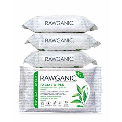 RAWGANIC Refreshing Facial Wipes   Gentle Soothing, Alcohol-free, Fragrance-free, Biodegradable Organic Cotton Wipes   with Aloe Vera and Green Tea   4 Packs (100 wipes in total)
