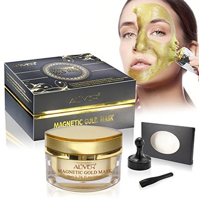 Aliver® Gold Mineral-Rich Magnetic Face Mask Pore Cleansing Removes Skin Impurities with Iron Based Skin Revitalising Moisturising & Rejuvenating Magnetic Gold Face Mask Age-Defier Formula 50ml