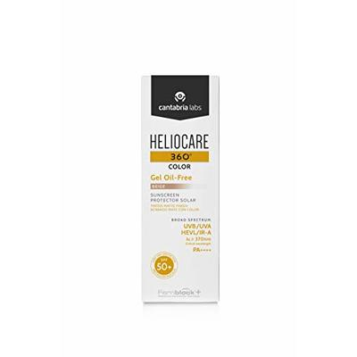 Heliocare 360 Color Gel Oil-Free Beige SPF 50 50ml / Gel Sunscreen For Face/Daily UVA UVB Visible Light Infrared-A Anti-Ageing Sun Protection/Matte Foundation Coverage