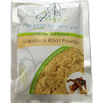 Davis Finest Liquorice Root Powder, Natural Skin Lightening, Whitening, Face Brightening Moisturising Facial Mask to Lighten Acne Scars, Dark Spots, Marks, Blemishes, Pigmentation for Clear Complexion and Even Skin Tone 100g