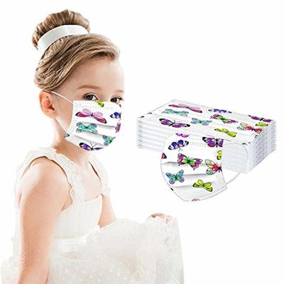 Your New Look 50PCS Non-Reusable Butterfly Print Face_Mask Children 3-Ply Earloop Anti-Dust Face Cover Comfort Breathable Fabric (50PC Multicolor B)