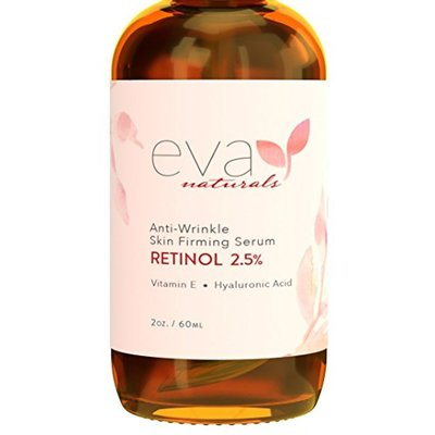 Retinol Serum 2.5% by Eva Naturals (2 oz, Double-Sized Bottle) – Best Anti-Aging Serum, Minimizes Wrinkles, Helps Prevent Sun Damage, and Fades Dark Spots – Vitamin A Retinol with Hyaluronic Acid