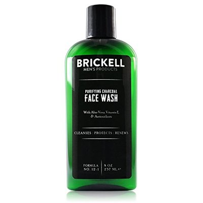 Brickell Men's Purifying Charcoal Face Wash for Men, Natural and Organic Daily Facial Cleanser, 236 mL, Scented