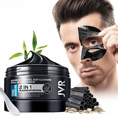 JVR Blackhead Remover Mask for Men,Bamboo Charcoal Peel Off Black Mask,Purifying and Deep Cleansing for All Skin Types 120g