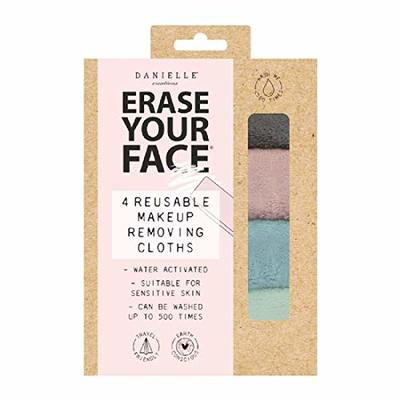 Erase Your Face Eco Friendly Reusable Makeup Removing Cloths in New 100% Plastic Free Recyclable Packaging (4 Pack Cloths, Pastels)