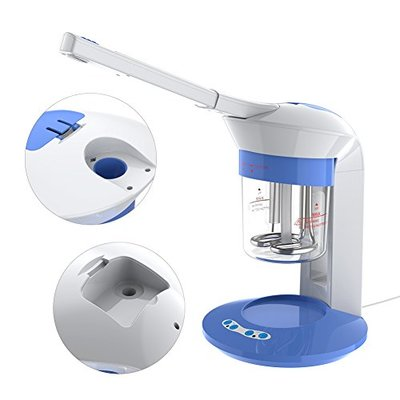 Facial Steamer Salon for Pores and Sinus, Portable Tabletop Ion Vapour Ozone Steamer Face Care, Home Use Humidifier 2 in 1 Nano Ionic Face Steamer with UV Light for Improving Facial Skin or Dry Hair