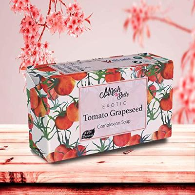Mirah Belle – Tomato, Grapeseed Complexion Soap – Natural Vitamin C Handmade Soap – Skin Brightening and Lightening – Vegan and Cruelty Free – Best for Men and Women – Face and Body Bar – 125 gms