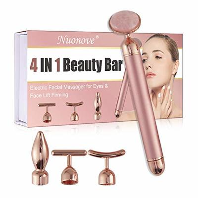 Jade Face Roller, Beauty Bar 4 IN 1, Electric Facial Massager, 24K Golden Energy Beauty Bar for V-Face, Professional Beauty Tools for Instant Thinning, Firming, Anti-Wrinkle