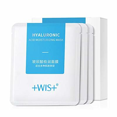 WIS Hyaluronic Acid Essence Full Face Facial Mask Sheet,Deep Hydrating Anti-Aging Serum Moisturizing Face Mask for Dull Dry Skin Care,Anti-Wrinkle & Fine Lines,10 Pack