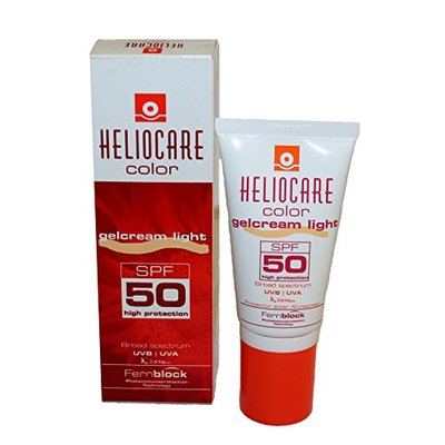 Heliocare Gelcream Colour Light SPF 50 50ml / Sun Cream For Face / Daily UVA UVB Anti-Ageing Sunscreen Protection / Suits All Skin Types / Natural-looking Foundation Coverage