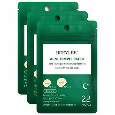 Acne Patches, BREYLEE Tea Tree Pimple Patches Acne Dots Acne Absorbing Cover Pimple Healing Sticker Blemish Spot Treatment Hydrocolloid Acne Patch (3 Pack, 66 Count)