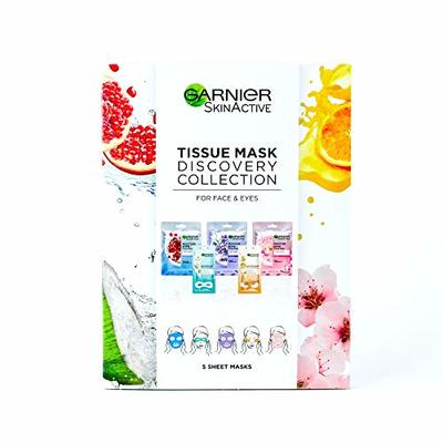 Garnier Sheet Mask Discovery Collection, Face & Eye Sheet Mask set for Dehydrated, Dull and Tired Skin, Pack of 5 Sheet Masks