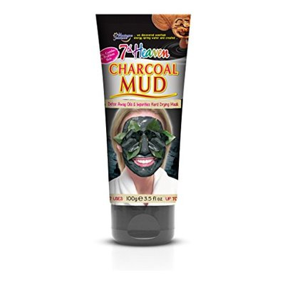 7th Heaven Charcoal Hard Drying Facial Mud Mask 100g Tube with Crushed Walnut and Black Lava to Detox Away Oils on Oily, Combo and Problem Skin
