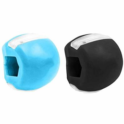 Jaw Exerciser, Facial Toner Facial Neck Exerciser Define Jawline Neck Toning Slim and Tone Your Face Double Chin Reducer Jaw Exercise Ball Face Slimmer Face Workout Mouth Muscle Exerciser(Black+Blue)