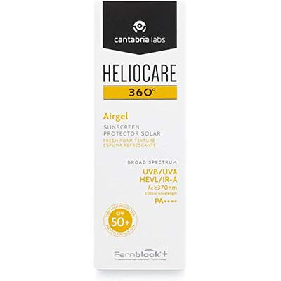 Heliocare 360 Airgel SPF50+ 60ml | Mousse Sunscreen for Face & Neck | UVA UVB Visible Light Infrared-A Anti-Ageing Sun Protection | Suits All Skin Types | Matte Finish | Supercharged with Antioxidants